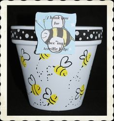 Our hand painted bee flower pot is the perfect gift for teacher, parent volunteer or teacher helper! Add some goodies to make it 2 gifts in 1.