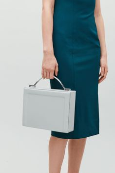 COS image 6 of Structured top-handle leather bag  in Light taupe