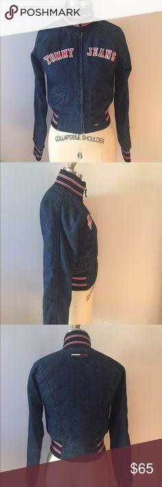 Vintage Tommy Hilfiger Denim Varsity Jacket Denim with Stripe Rib Knit and Contrast Red Quilt Lining Tommy Hilfiger Jackets & Coats Jean Jackets