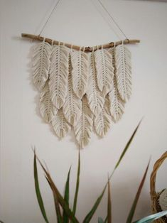 Your place to buy and sell all things handmade : Macrame Feather Wall Hanging Yarn Wall Art Modern Macrame Macrame Wall Hanging Patterns, Large Macrame Wall Hanging, Macrame Patterns, Quilt Patterns, Tapestry Wall Hanging, Yarn Wall Art, Wall Art Boho, Feather Wall Decor, Room Tapestry
