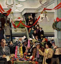 Christmas Shopping Mayhem ~ John Falter