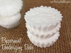 Homemade garbage deodorizing disks. We love using these in our trash cans! Only 3 ingredients and so easy to make!