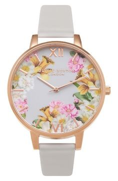 Free shipping and returns on Olivia Burton Flower Show Leather Strap Watch, 38mm at Nordstrom.com. A high-polish rose gold-plated case and floral-print dial amp the whimsical appeal of a beautiful round watch paired with a pastel leather strap.