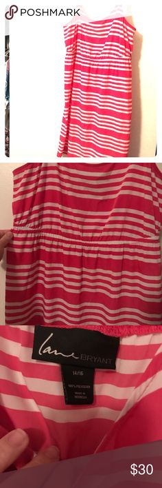 Pink and white LB sundress Gently used, Brand is Lane Bryant. Size 14/16. Silky material. Very lightweight with adjustable straps. Came with a belt but it I don't have it anymore, but looks cute without it. Lane Bryant Dresses Midi