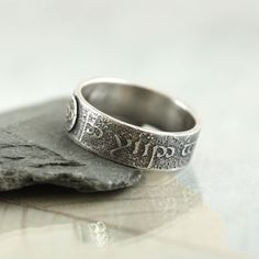Elvish Silver Ring Band Rivendell Find Elven by NanfanJewellery