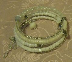 White Butterfly and Heart Memory Wire Bracelet Wrap bracelet by ~crafts 4 the cure~ ♥etsy♥ $6.50