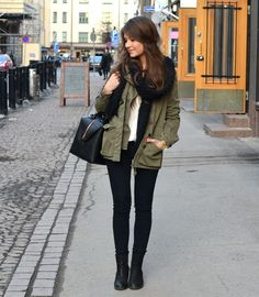 Army Jacket + White Tee + Black Skinnies + Short Boots