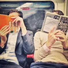 (Open RP; be either him or her) We're sitting by each other on the subway, both of us reading while sneaking glances at each others' books. Eventually we realize we're only reading each others' books, not our own. And everyone around us has noticed this, and now the entire subway ships us.