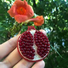 Pomegranate brooch Unique beaded brooch Pomegranate jewelry