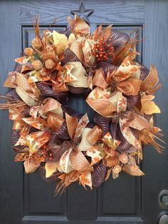 AUTUMN LEAVES and ACORNS Mesh Wreath by GlitzyWreaths on Etsy, $90.00