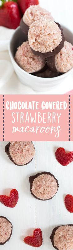 Chocolate Covered Strawberry Macaroons are a delicious snack and dessert option packed with strawberry coconut flavor! They are vegan, gluten free and can be made raw.