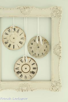 Vintage clock faces hanging from shabby frame