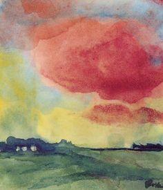 Emil Nolde - Marschlandschaft mit Roter Wolke und Bauernhof, c.1935-40
