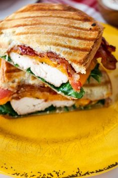 Chicken Bacon Ranch Panini - - This panini is packed full of flavor in every bite! It is very easy to substitute or take out ingredients. Best Panini Recipes, Chicken Panini, Chicken Bacon Ranch Sandwich, Grilled Chicken, Panini Sandwiches, Panini Sandwich Recipes, Cooking Recipes, Healthy Recipes, Vegetarian Recipes
