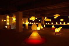Akari Light Sculptures at an Ozeki Lantern Co. showroom.