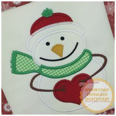 Love Snowman Applique Design by Everyday Design Boutique (http://www.everydayddesignboutique.com). Free design for Gold Members of The Appliqué Circle for the month of December 2016 at www.theappliquecircle.com. Join Now!