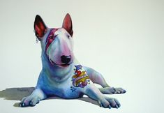My intention for 2012 was to have a solo exhibition of just the Dogs paintings. The Artist's Room Gallery in Dunedin, NZ, very kindly offered to host the show in July. Chien Bull Terrier, Bull Terrier Funny, Bull Terriers Anglais, English Bull Terriers, Best Dog Breeds, Best Dogs, Yorkshire Terrier Toy, Abstract Animal Art, Black Cat Art