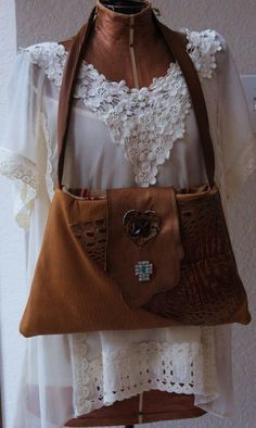 Tan and Brown Leather Bag Leather Bag with by RusticUnraveled, $65.00 #swmo #swag #abees