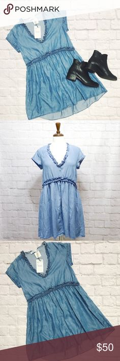 Zara NWT XS Blue Chambray Dress condition: NWT (new with tags) color: blue sizing: True to size - XS - see measurements in photos other: fabric content is 100% Lyocell Zara Dresses