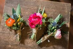 We've a riot of colour going on today with a beautiful selection of spring buttonholes! Across the pond they're know as boutonnières, which is actually th