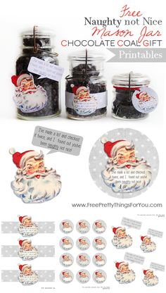 Free Naughty Not Nice Mason Jar Chocolate Gift Printable