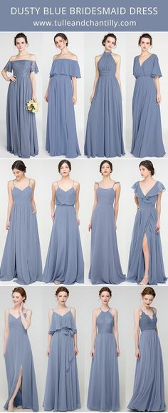 dusty blue bridesmaid dresses wedding color trend#wedding #weddinginspiration #bridesmaids #bridesmaiddresses #bridalparty #maidofhonor #weddingideas #weddingcolors #tulleandchantilly Dusty Blue Bridesmaid Dresses, Dusty Blue Weddings, Bridesmaids, Wedding Wishes, Weddingideas, Wedding Colors, Voodoo Spells, Party Dress, Tulle
