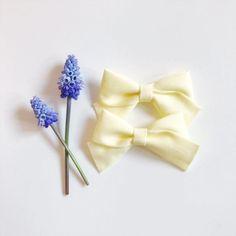 Mini School Girl Bow Buttercup Yellow with Nylon Band or Hair Clip, nylon bow headbands, nylon baby headbands, preemie headband, Easter bow, Easter headband, pigtail bows, pigtails, pigtail set, Etsy store
