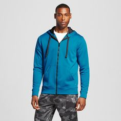 Men's Tech Fleece Full zip Hoodie Underwater Blue 2XL - C9 Champion, Size: Xxl