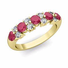 Garland Diamond and Ruby Wedding Ring in 18k Gold. #MyLoveWeddingRing