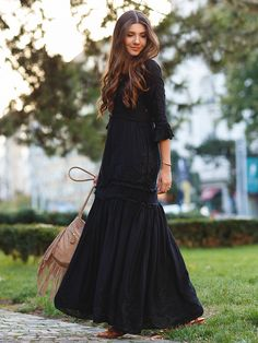 Black Embroidery Ruffle Flare 3/4 Sleeve Skater Maxi Dress