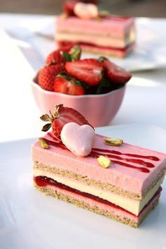 Gourmet Baking: Valentine Dessert Idea: Strawberry and Pistachio Mousse Cake wit., Desserts, Gourmet Baking: Valentine Dessert Idea: Strawberry and Pistachio Mousse Cake with Red Berry Gelée. Gourmet Desserts, Fancy Desserts, Just Desserts, Plated Desserts, Gourmet Cakes, Summer Desserts, Health Desserts, Valentine Desserts, Valentine Cake