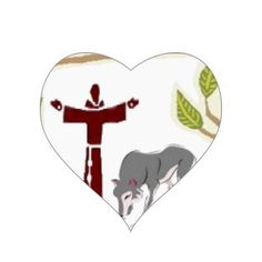 st. francis with heart | St. Francis and The Wolf tie, gift box, chain etc Heart Sticker