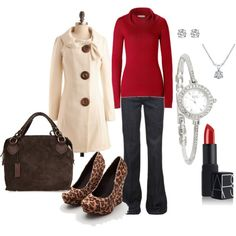 Neutrals with red--love this combination.