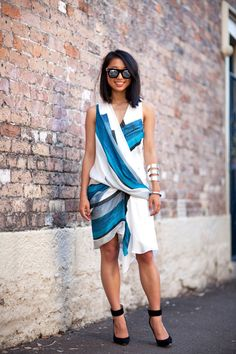 whatever this wrap dress is - awesome! #MBFWA2012 #streetstyle #fashion