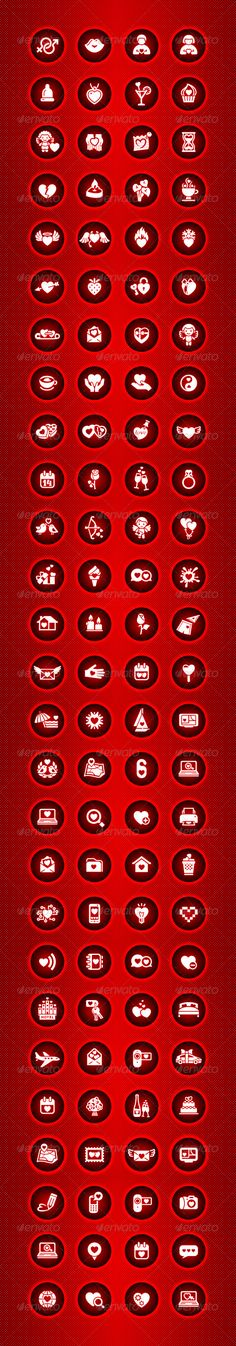 St Valentine's Day 108 Icons . Attached ZIP folder contains: • These are editable vector files. • EPS vector file is saved in file format EPS v. 10 • AI (Illustrator CS6) • PNG (transparent) 1654×9918 pixels • PSD (layered, 300dpi) • Available RGB color In this set, I painted such icons as: love icon, map, mark, mail, home, trash, heart, globe, vector, pencil, camera, loyalty, feeling, flirting, envelope, location, notebook, calendar, navigator, configure, love sms, navigation, celebration…