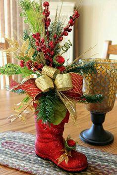 Silk Floral Arrangement In Santa's Boot
