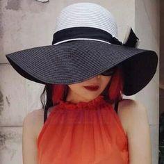 Fashion UV wide brim straw hat for women bow decoration