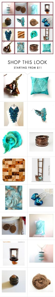 """""""Teal and Brown"""" by marlena-rakoczy ❤ liked on Polyvore featuring Scialle and vintage"""