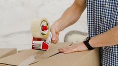 Crop man packing box with sticky tape Free Photo Packing Services, Moving Services, Wooden Initials, Wooden Letters, Best Moving Companies, Sweetheart Table Decor, Eat Sign, Nursery Name, Nursery Room
