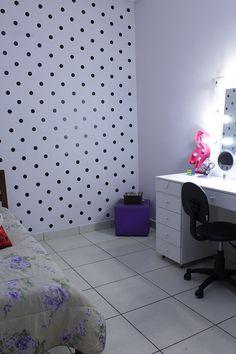 parede de bolinhas decor room parede de poás parede de poás quarto feminino decoração quarto feminino quarto de meninas reforma quarto feminino