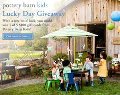 You could win 1 of 5 gift cards from Pottery Barn Kids! Click on this pin to enter to win via our Facebook page through March 17th!