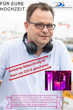 Bis zum 15. Auguste 2020 schenke ich allen Hochzeitspaaren die für 2021 mich als Hochzeits-DJ buchen die Ambiente Beleuchtung im Wert von 220 Euro dazu Euro, Lighting