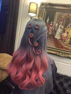 Cool hairstyle and hair color black to pink ombre
