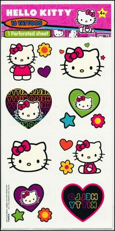 Hello Kitty Tattoos x 8 pieces/Cut to 16 - Birthday Party Supplies - Loot Bags