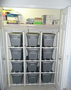 Label the bins with what's in them - LEGO, Matchbox, whatever - then, pull out ONLY that bin for playing. The PVC rack makes it easy to get to the bin you want without going through them all.