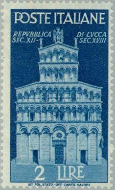 Francobollo Church of San Michele in Lucca Lucca, Vintage Stamps, Penny Black, Fauna, Ms Gs, Stamp Collecting, Poster, City, Pictures