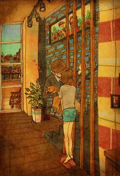 """O artista """"Puuung"""" criou uma série de ilustrações para aquelas pessoas que ainda não perceberam que o amor está nas pequenas coisas. São coisas simples, mas que podem ser a base de qualquer relação, porque mais importante do que os grandes gestos, são as singelas e espontâneas interações no dia a dia. É favor PARTILHAR! ;)"""