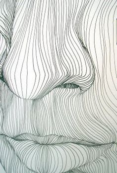 Line Drawing 2: You can tell where parts of the drawing are rounded and show dimension by the space used with in the movement of the curves in the lines.