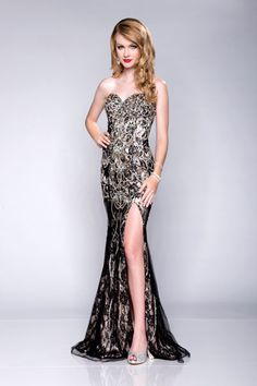 Sweetheart Neckline Embellished With Slit by Envious Prom/Karishma Creations, $620, karishmacreations.com