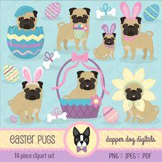 Easter Pug Clipart Pack - Commercial Use, Vector Images, Digital Clip Art, Digital Images by DapperDogDigitals on Etsy https://www.etsy.com/uk/listing/490501538/easter-pug-clipart-pack-commercial-use